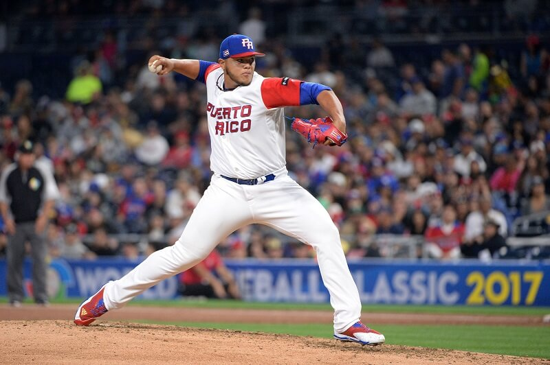 Joe Jimenez pitches for Puerto Rico in the WBC